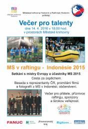 foto - Večer pro talenty - MS v raftingu - Indonésie 2015